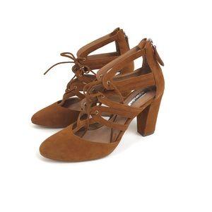 NWOB- Halogen Sydney Brown Lace Block Heel Sz 6.5